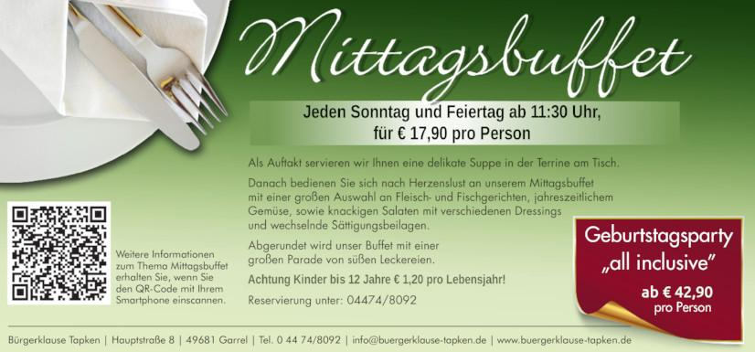 Mittagsbuffet in der Bürgerklause Tapken in Garrel bei Oldenburg